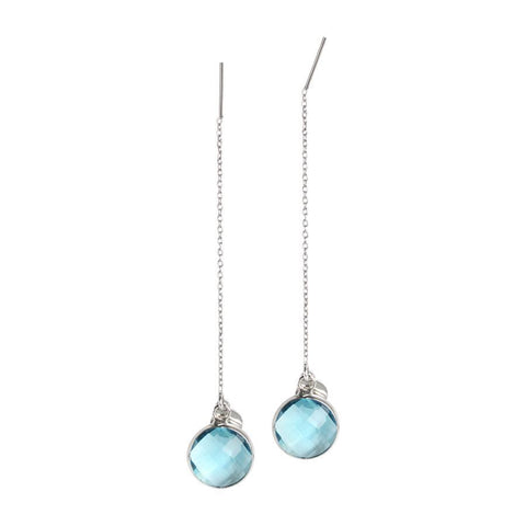 Earrings latch with briolette crystal aquamarine