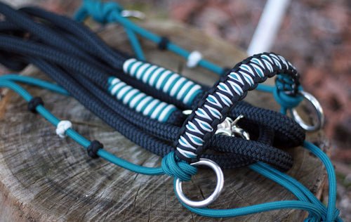 3in1 Bitless Bridle; Teal/Black