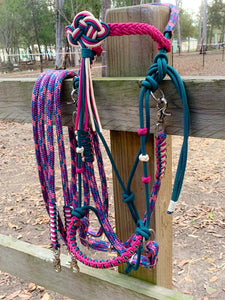 Comfort Bitless Bridle, handcrafted in Australia. High quality double braided rope. Celtic knot browband. Excellent for sensitive horses. Perfect for groundwork and natural horsemanship.