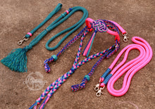Load image into Gallery viewer, Fairytale Bridle Set with Reins and Cordeo; Neon Pink, Turquoise, Royal Blue