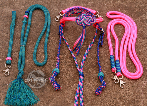 Fairytale Bridle Set with Reins and Cordeo; Neon Pink, Turquoise, Royal Blue