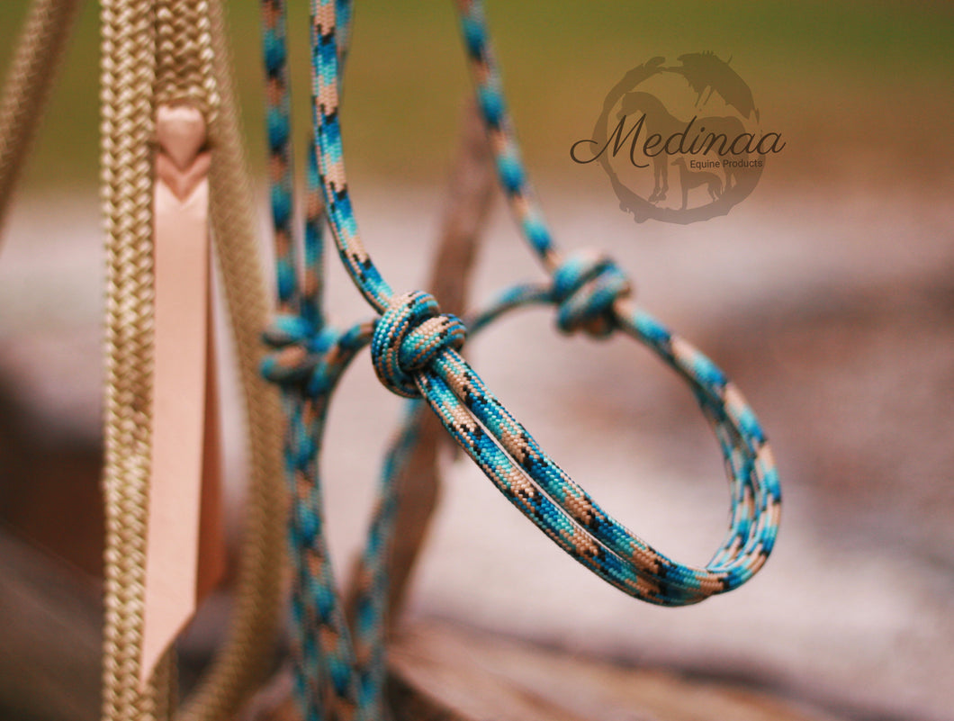 Beige/Blue Natural Halter and 8ft Lead Rope