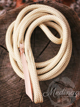 Load image into Gallery viewer, Beige/Blue Natural Halter and 8ft Lead Rope