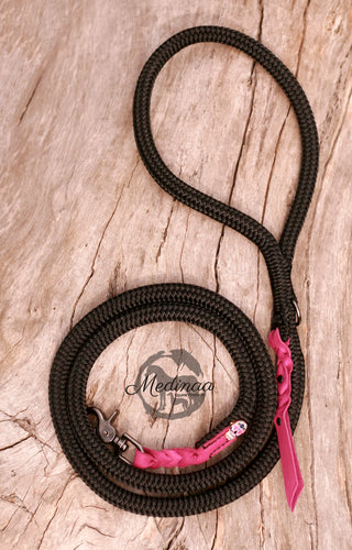 Black Dog Leash - Sugar Skull Pink