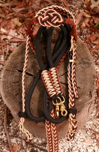 Fairytale Bridle and Reins Set; Brown/Black/Beige