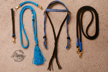 Load image into Gallery viewer, Fairytale Bridle Set with Reins and Cordeo; Colonial Blue, Black, Cream