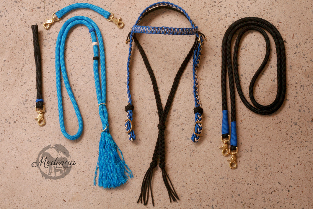 Fairytale Bridle Set with Reins and Cordeo; Colonial Blue, Black, Cream