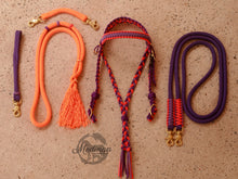 Load image into Gallery viewer, Fairytale Bridle Set with Reins and Cordeo; Purple, lilac, orange