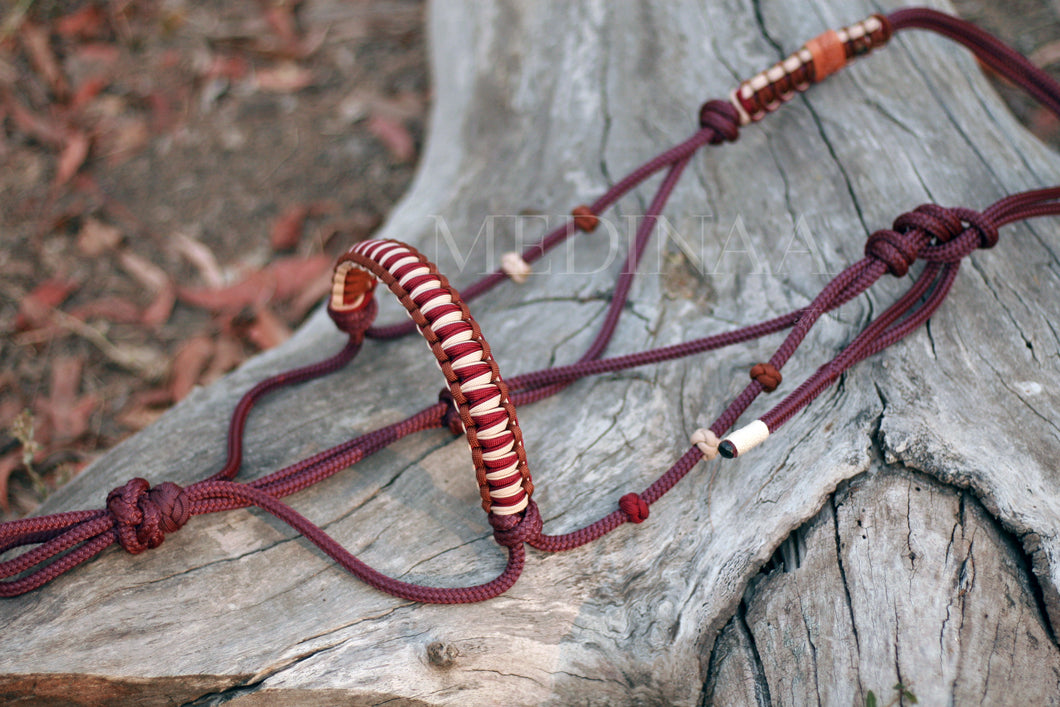 Halter Set - Burgundy/Brown