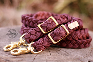 Braided Reins - Burgundy/Plum
