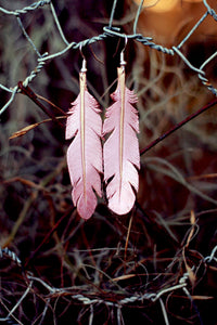 IN STOCK Leather Earrings - Dusty Pink
