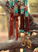 Load image into Gallery viewer, Rope Reins - Turquoise Cowgirl