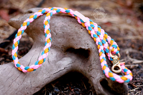 Dog Leash - Pink/Turquoise/Gold