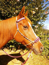 Load image into Gallery viewer, Side Pull Bitless Bridle; Burgundy/Dusty Pink