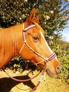 Side Pull Bitless Bridle; Burgundy/Dusty Pink