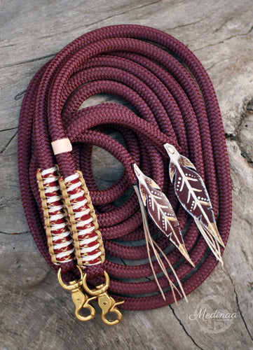 SE Split Reins - Burgundy Bling