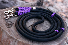 Load image into Gallery viewer, Rope Reins - Black/ Purple