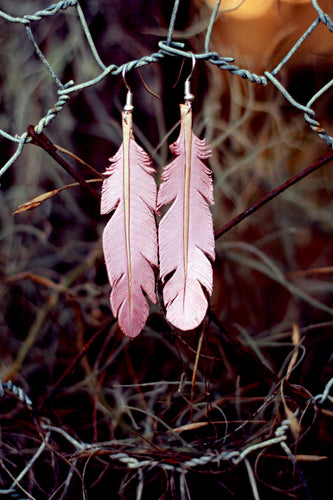 Leather Earrings - Dusty Pink