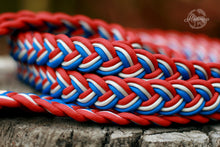 Load image into Gallery viewer, Braided Reins - Blue/Orange