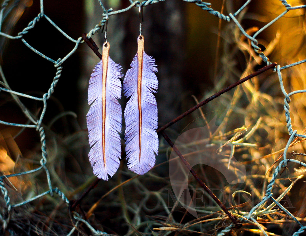 Leather Earrings - Lilac