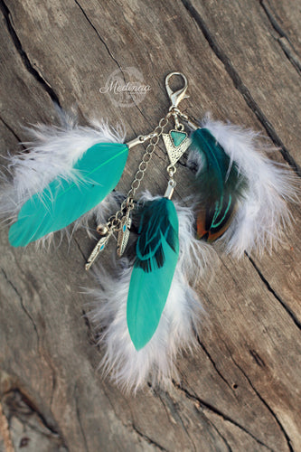 Feather Clip-on; Turquoise