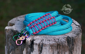 In Stock - 8ft Rope Reins; Turquoise Rainbow