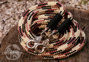 In Stock! Reins - 8ft - Brown/Beige/Black