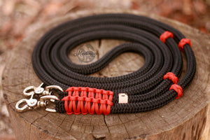 Rope Reins - Black/ Burned Orange