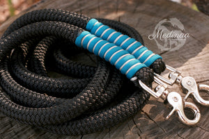 8ft Rope Reins - Black with Caribbean and Silver Wrap