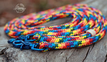Load image into Gallery viewer, Rope Reins - Blue Rainbow