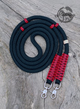 Load image into Gallery viewer, Rope Reins - Black/ Red