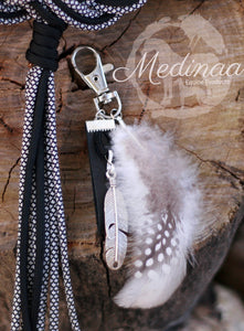 Bridle Feather Charm; Monotone with Leather