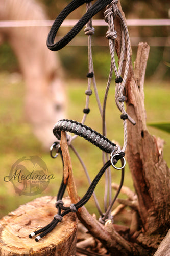 Side Pull Bitless Bridle; Grey/Black