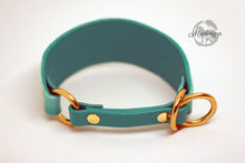 Load image into Gallery viewer, IN STOCK Luxury Leather Sighthound Collar - Turquoise Ombré - Small