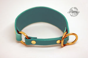 IN STOCK Luxury Leather Sighthound Collar - Turquoise Ombré - Small