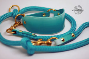 Luxury Leather Sighthound Collar - Turquoise Ombré