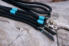 Load image into Gallery viewer, Split Reins - Black/Turquoise