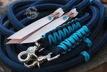 Load image into Gallery viewer, Split Reins - Navy/Turquoise