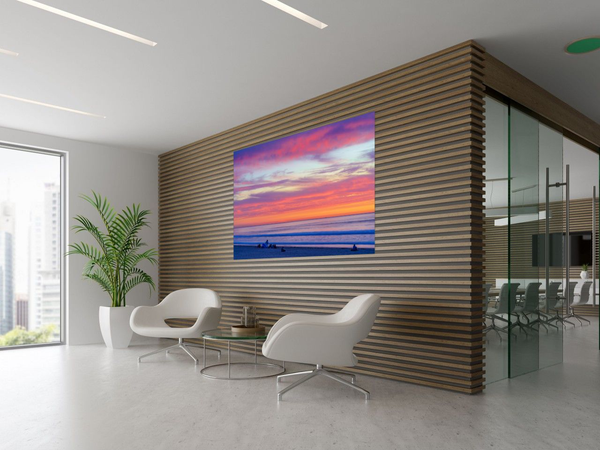 Pacific Beach Sunset Large Modern Metal Wall Art Print in Office by McClean Photography