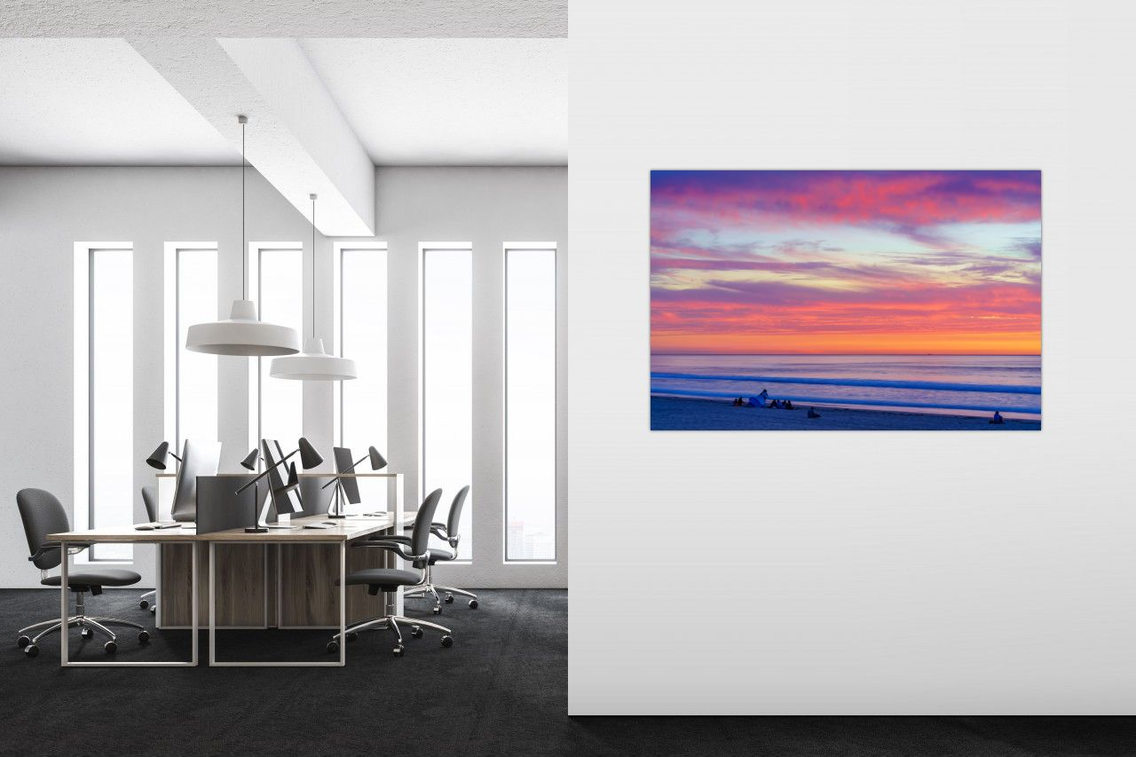 Pacific Beach Sunset Large Modern Acrylic Wall Art in Office by McClean Photography
