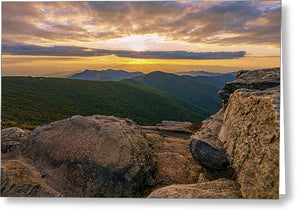 Craggy Mountain At Sunset In Asheville, Nc - Greeting Card