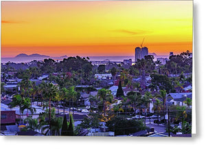 Elevated Sunset From North Park, San Diego - Greeting Card