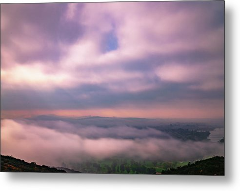 Gloomy Clouds Above Cowles Mountain, San Diego - Metal Print