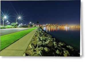 Harbor Island San Diego Light Stars - Greeting Card