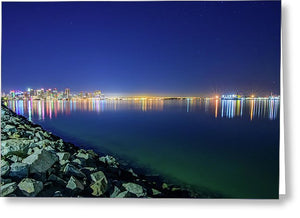 Harbor Island, San Diego Night Shot - Greeting Card