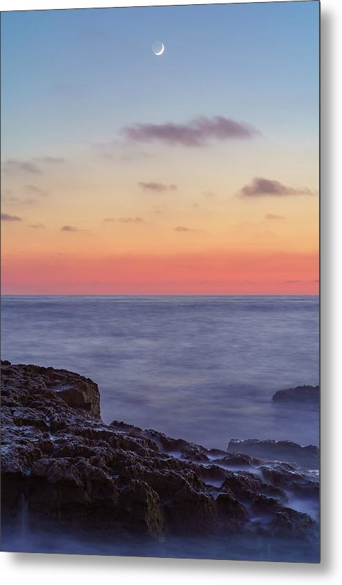 Moon Rise Among A Sunset In Ocean Beach, San Diego - Metal Print-Metal Print-McClean Photography