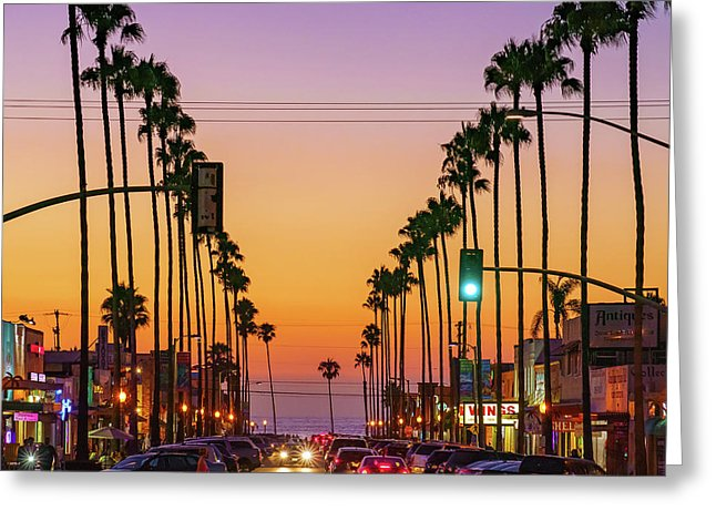 Newport Avenue In Ocean Beach, San Diego By Mcclean Photography - Greeting Card