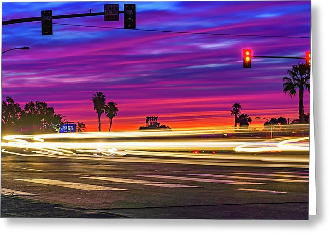 North Park San Diego Sunset At Normal St. - Greeting Card