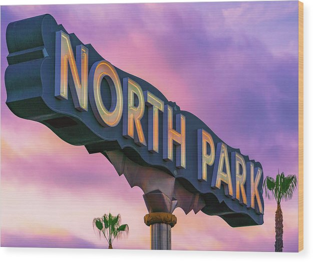 North Park Sign With Trees In San Diego, California - Wood Print
