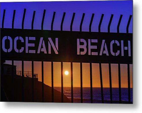 Ocean Beach, San Diego Fence At Sunset - Metal Print